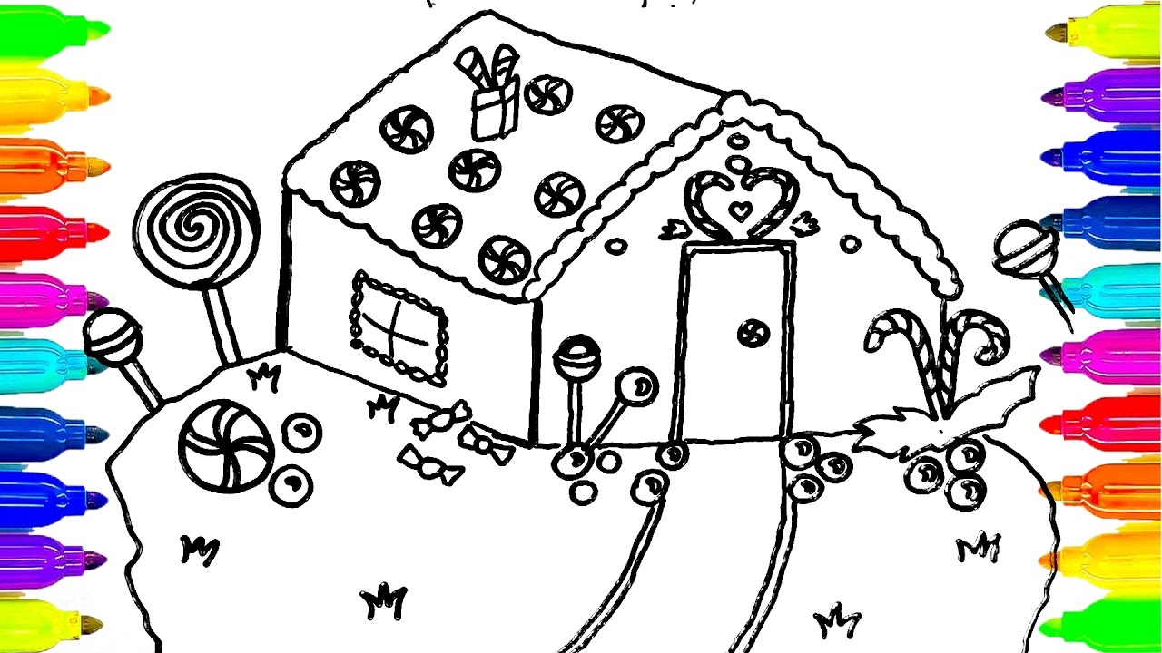 1280x720 How To Draw Candy House For Kids Colouring Book Kids Learn