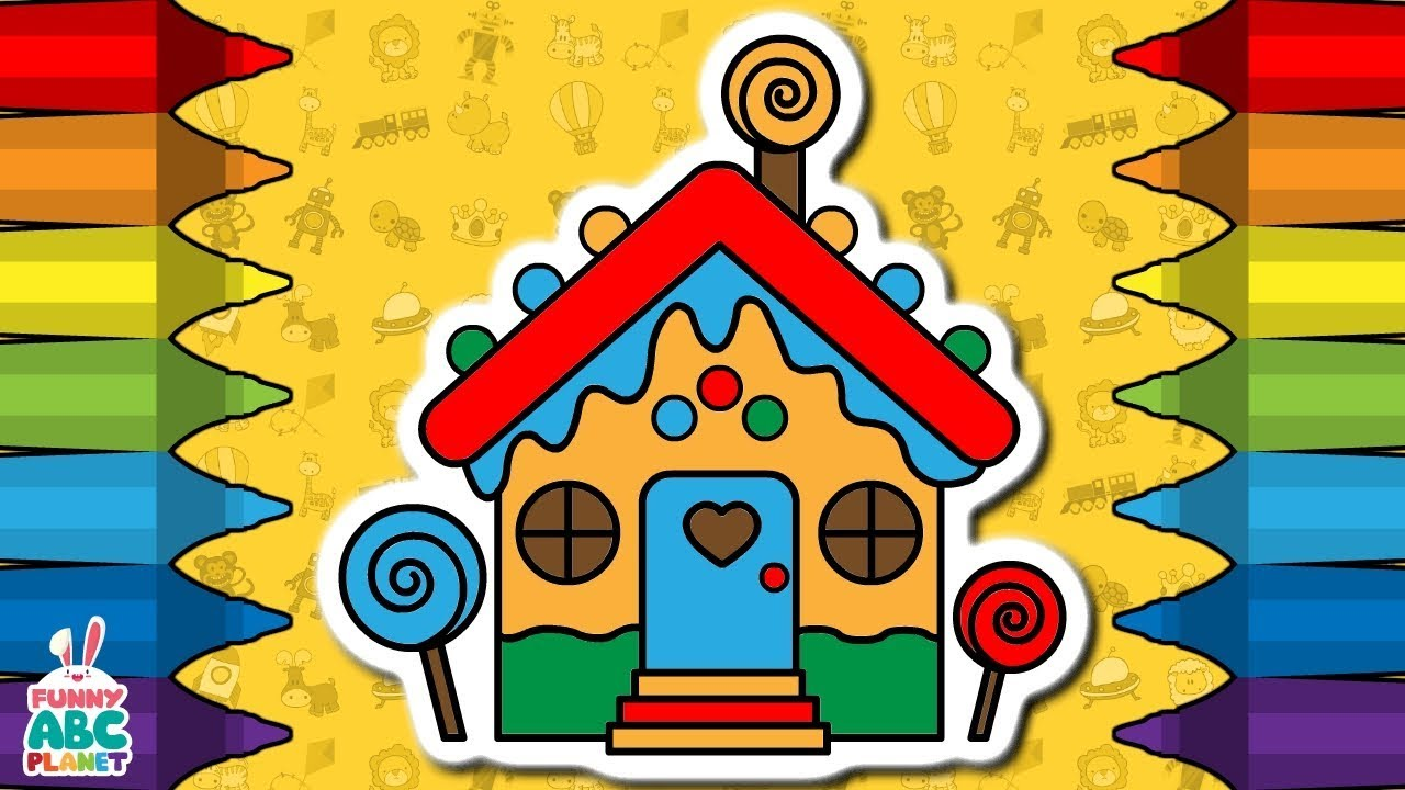 1280x720 How To Draw Colorful Candy House Drawing, Coloring Pages