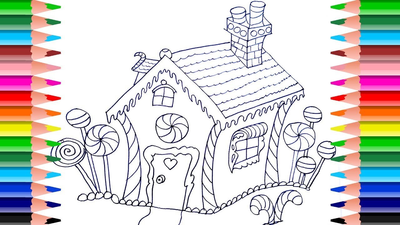 1280x720 How To Draw Colorful Doll Candy House Art Colours For Kids