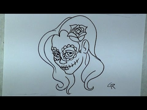 480x360 Learn How To Draw And Color A Pretty Sugar Skull Girl