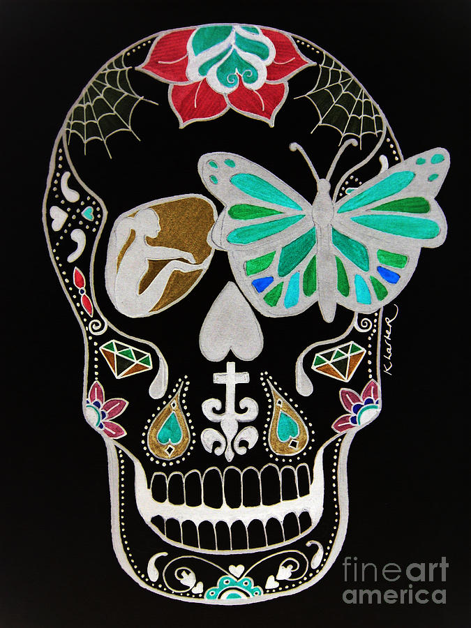 675x900 Sugar Candy Skull Neon Drawing By Karen Larter