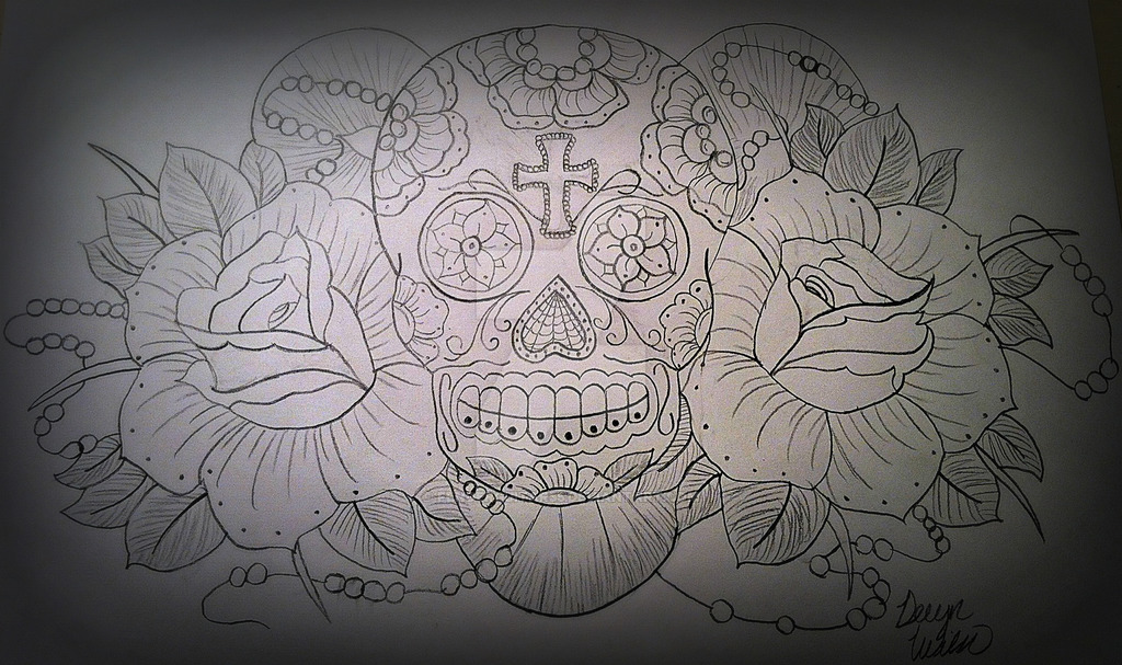 1024x607 Sugar Skull Drawing By Fenderguitar55