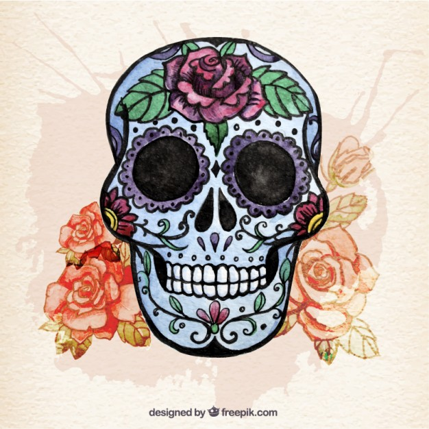 626x626 Watercolor Sugar Skull With Flowers Free Vector Dia De Los