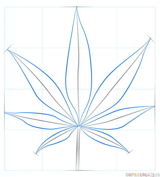 522x575 How To Draw A Pot Leaf Step By Step Drawing Tutorials