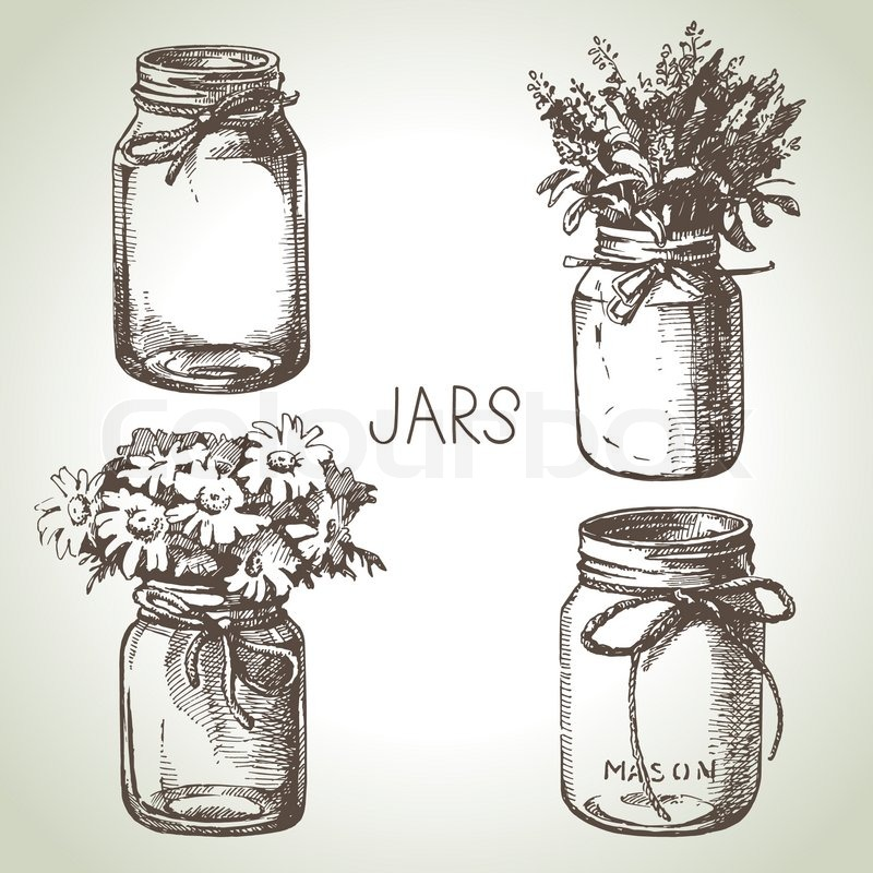 800x800 Rustic Mason And Canning Jars Hand Drawn Set Sketch Design