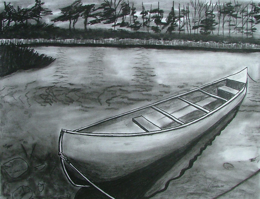 900x689 Canoe On Pond Drawing By Lee Davies