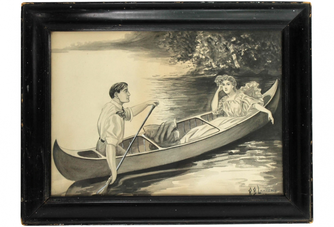 1080x734 Lovers In Canoe Drawing Omero Home