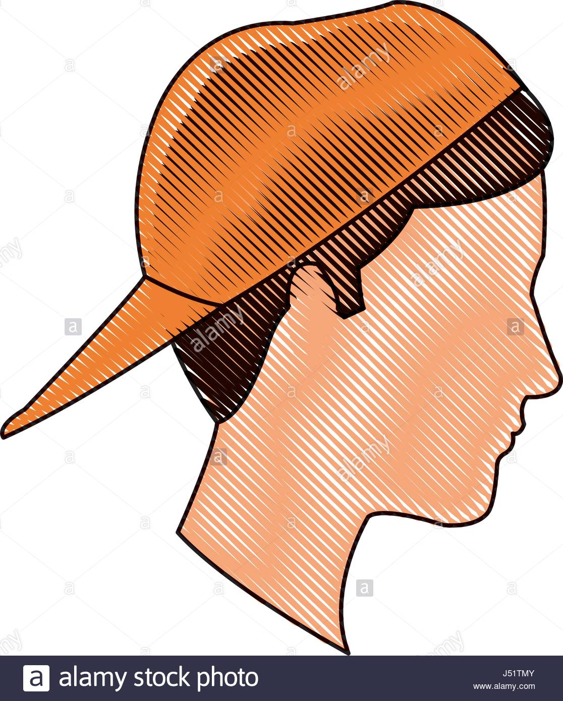 1116x1390 Drawing Profile Head Young Boy Orange Cap Stock Vector Art