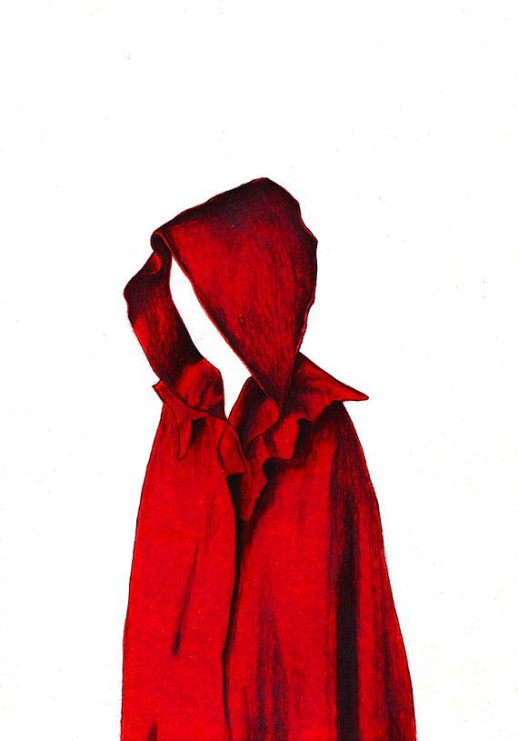 570x815 Red Cape Print Digital Print Of An Original Drawing