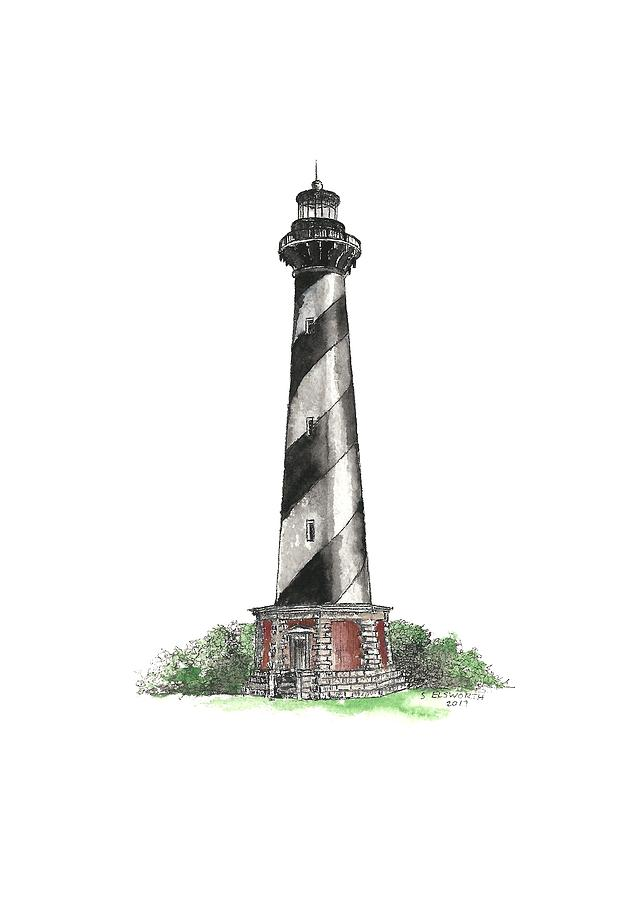642x900 Cape Hatteras Lighthouse Drawing By Stephany Elsworth