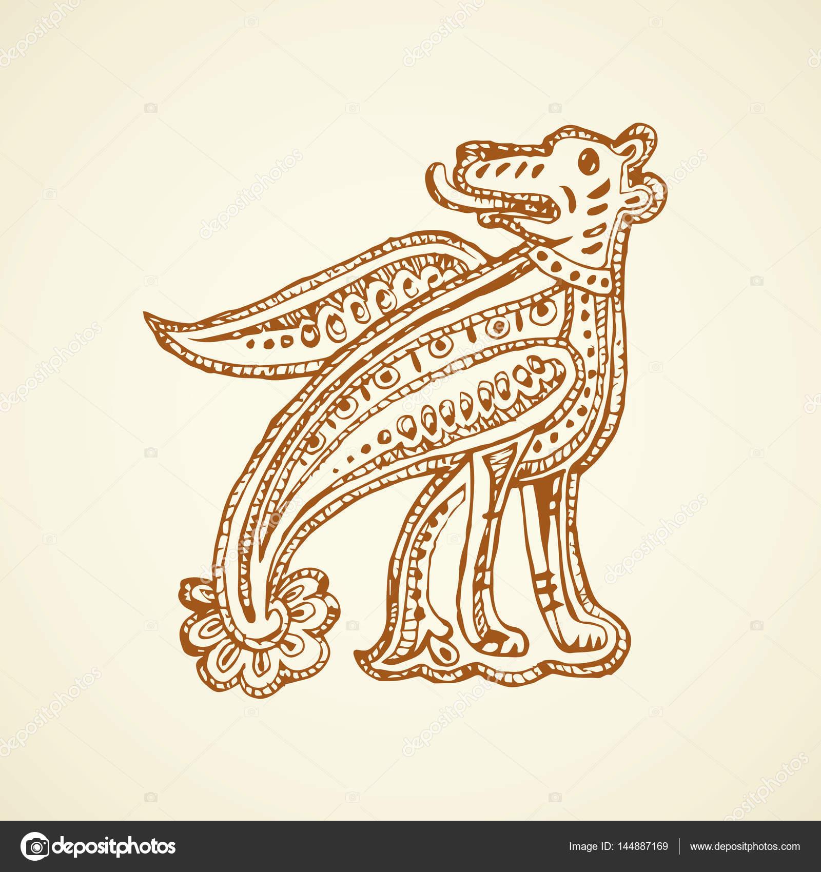 1600x1700 Ancient Capital Letter. Vector Drawing Stock Vector Marinka