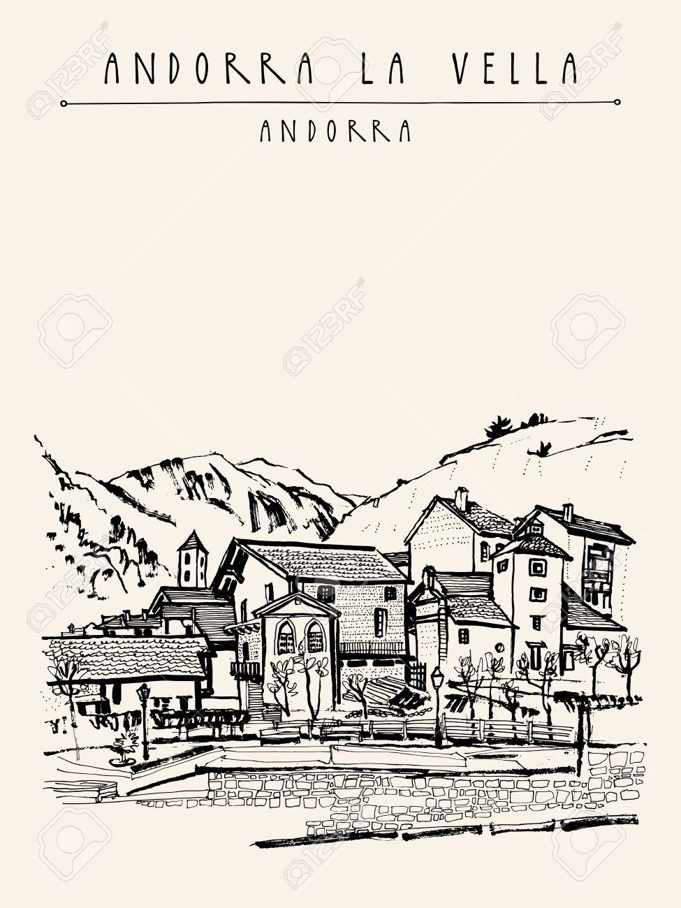 975x1300 Andorra La Vella, Capital Of Andorra, Europe. Cozy European Town