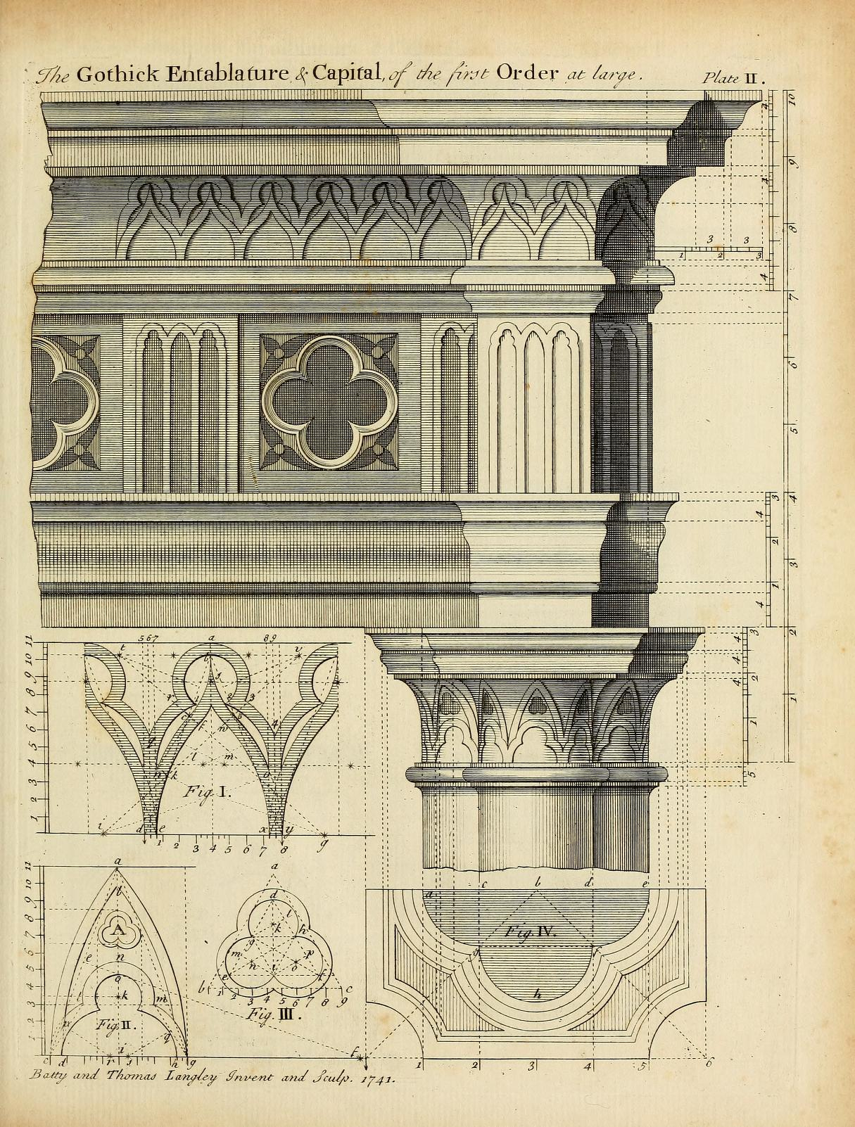 1215x1602 Gothic Order Drawing For Entablature And Capital To The Trade
