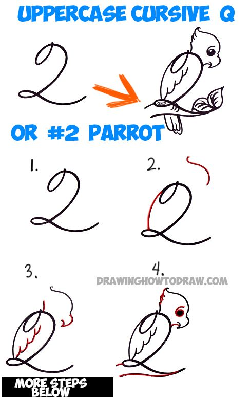 487x773 How To Draw Cartoon Parrot From Number 2 Or Capital Cursive Letter