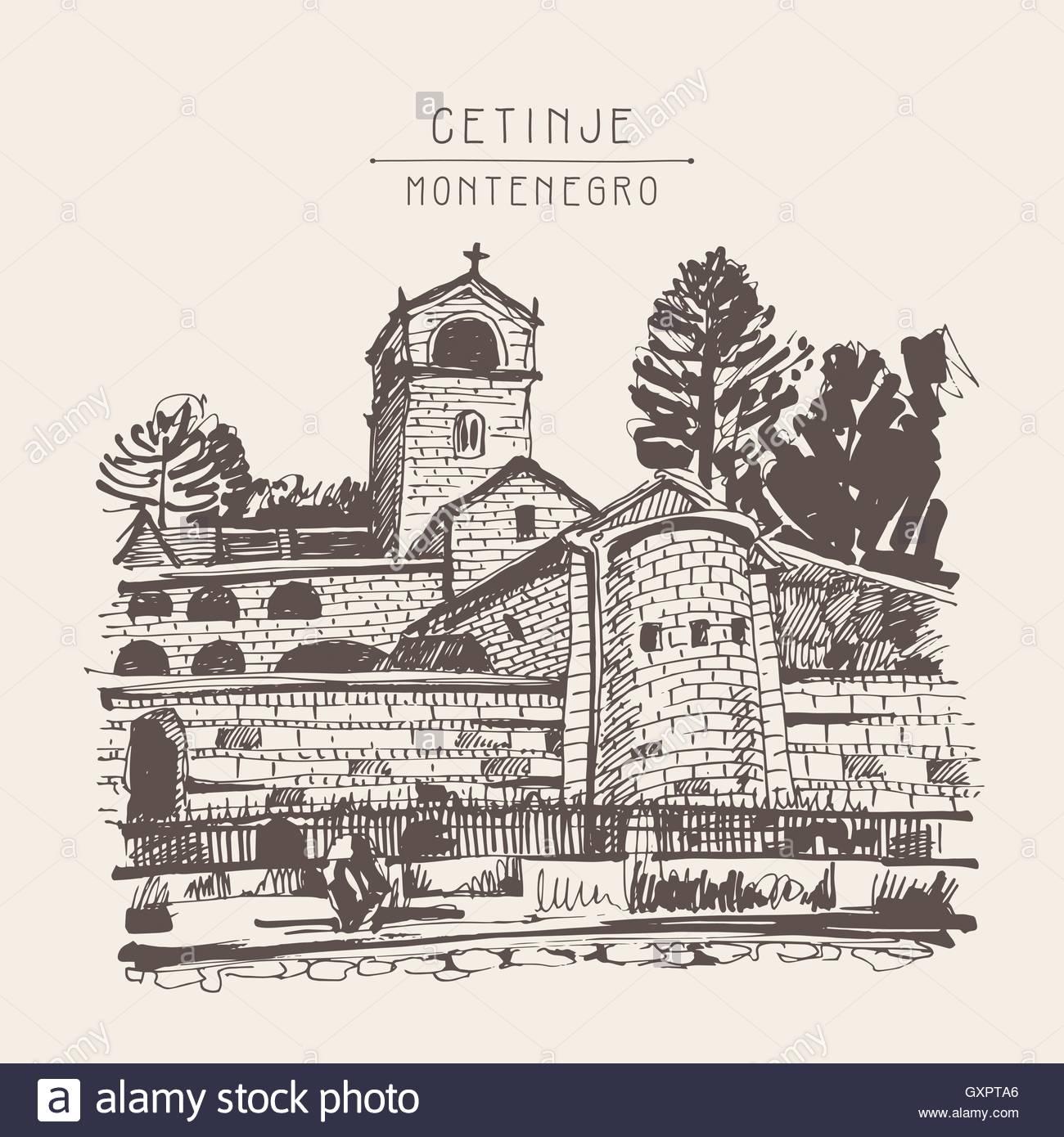 1300x1390 Sepia Hand Drawing Of Cetinje Monastery