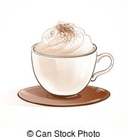 180x195 Cappuccino Foam Drawing. Coffee Art. Vector Hand Drawn Vector