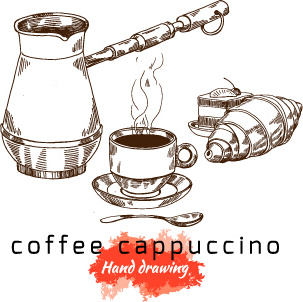 303x302 Hand Drawing Coffee Cappuccino Vector Free Vector In Encapsulated