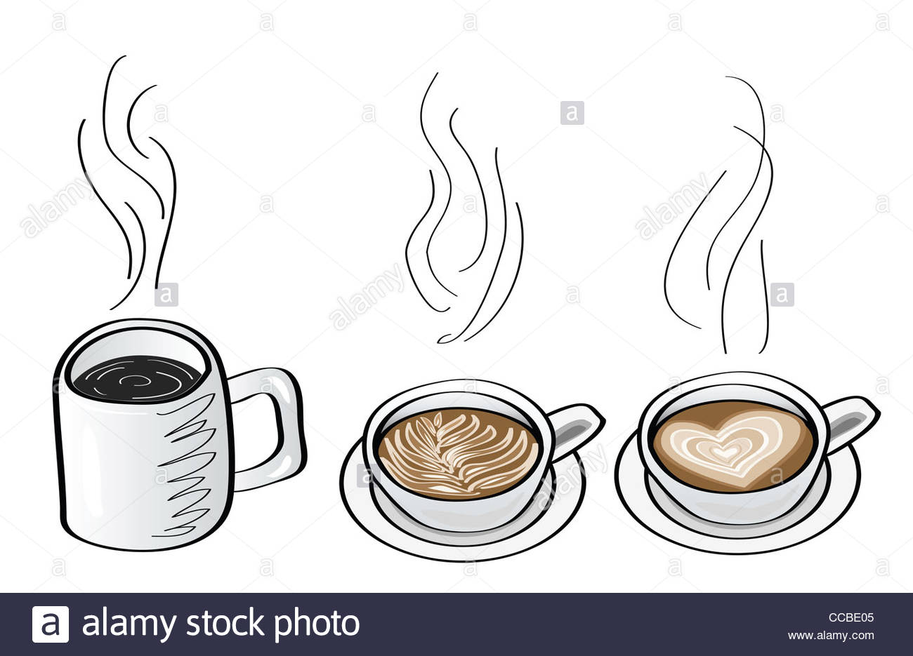 1300x935 Doodle Illustrations Of Coffee Drink, Black Coffee, Cappuccino