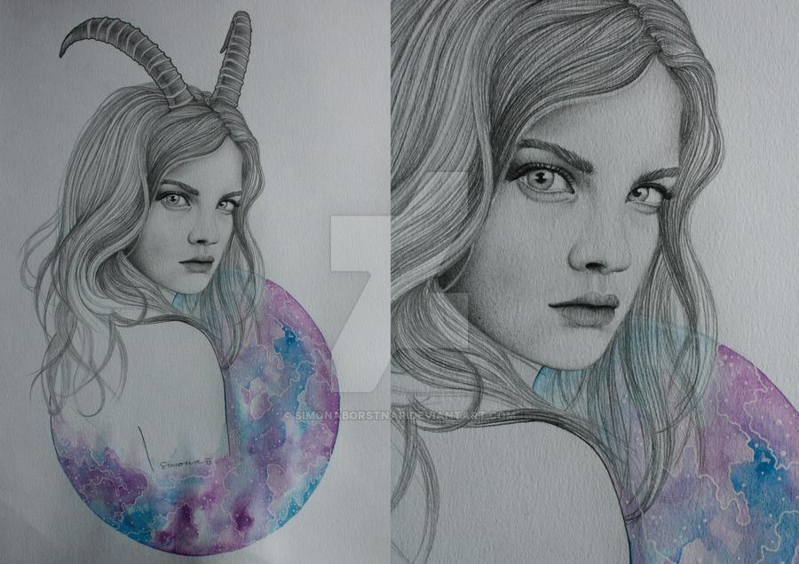 900x636 Zodiac Capricorn Drawing By Simonaborstnar