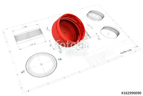 500x337 3d Illustration Of Plastic Bottle Caps Above Engineering Drawing