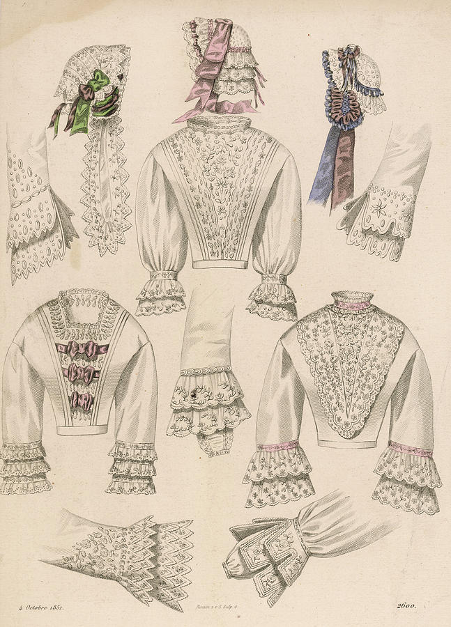647x900 French Lingerie Amp Caps Drawing By Mary Evans Picture Library