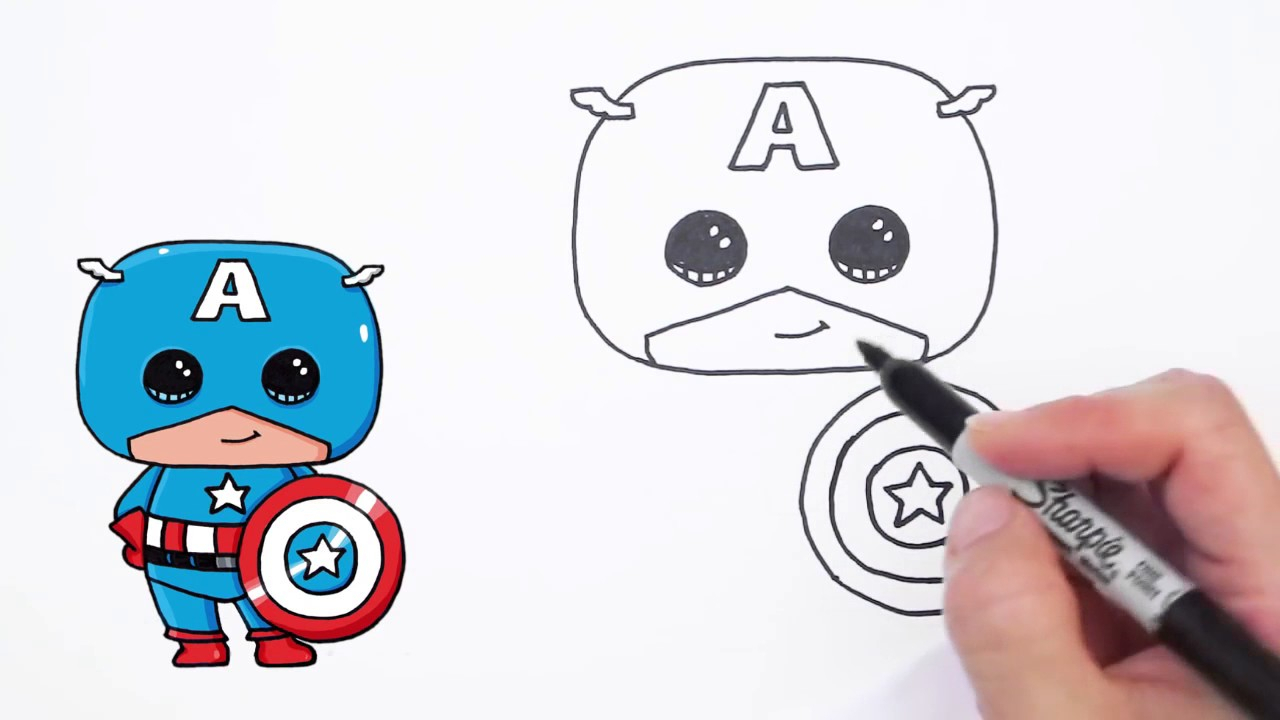 1280x720 Captain America Cartoon Drawing How To Draw Captain America Easy