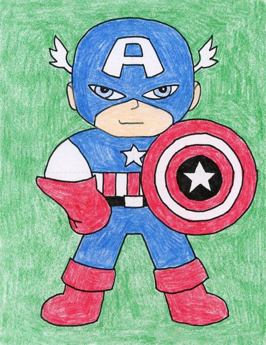 541x700 Draw Captain America