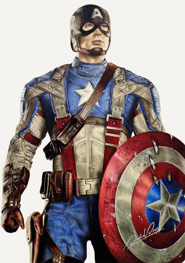 634x900 Captain America Drawing By David Dias