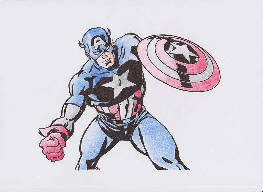 900x655 Captain America Drawing By Toni Jaso