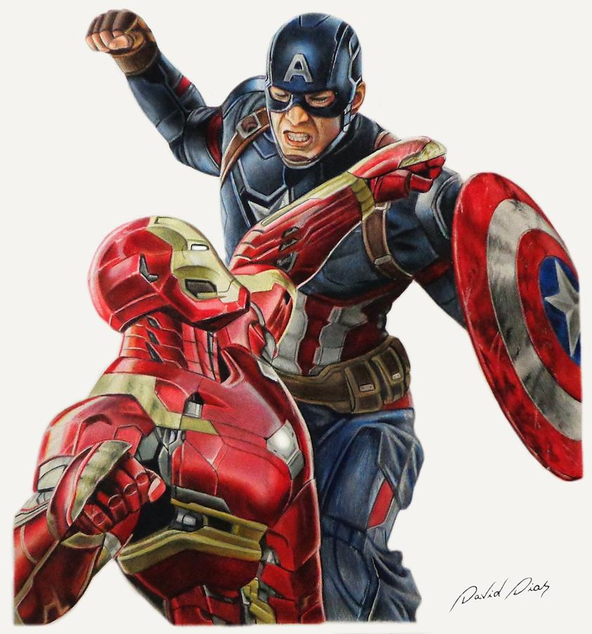 841x900 Captain America Vs Iron Man Drawing By David Dias