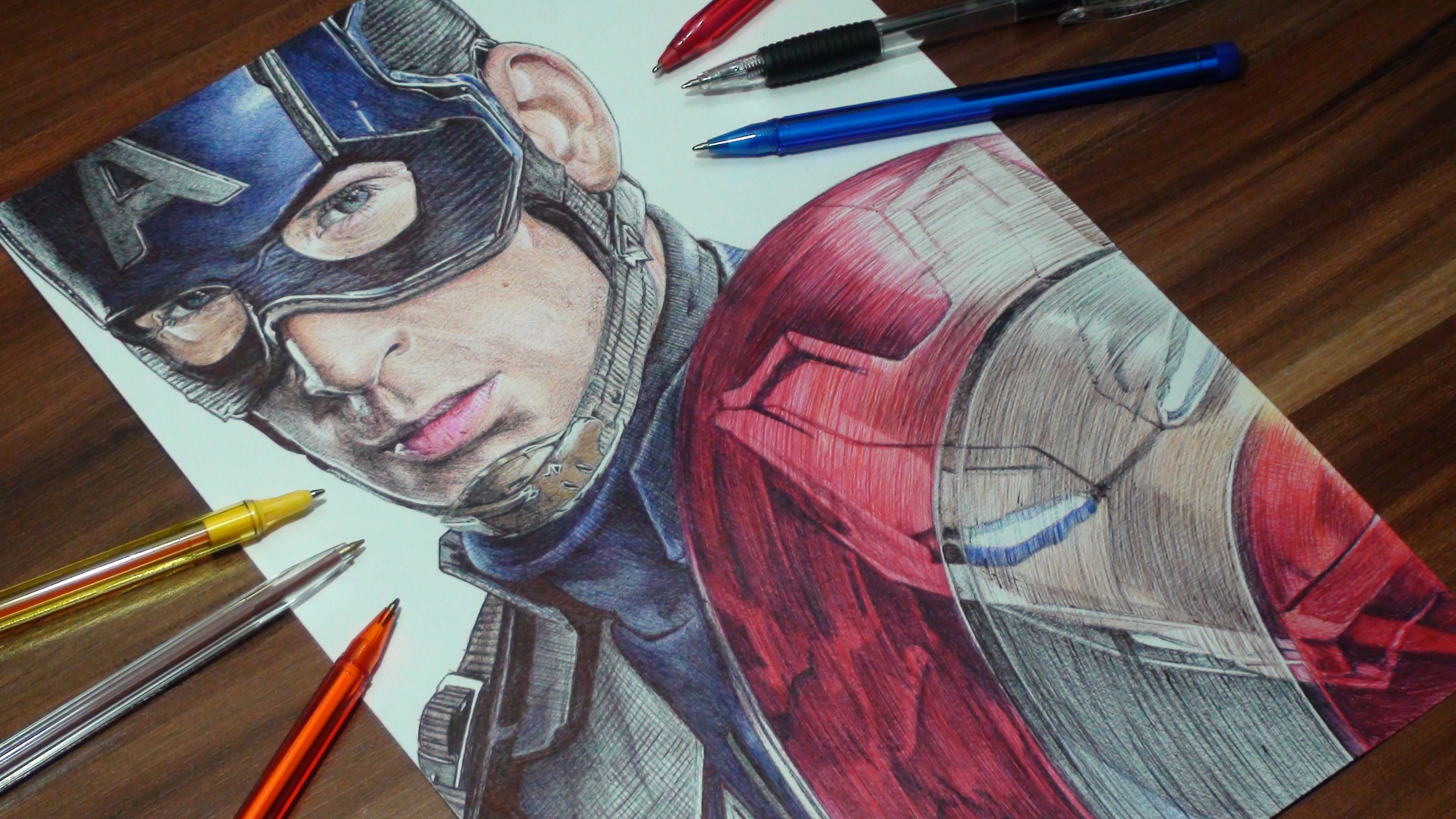 3680x2070 Captain Americairon Man Pen Drawing