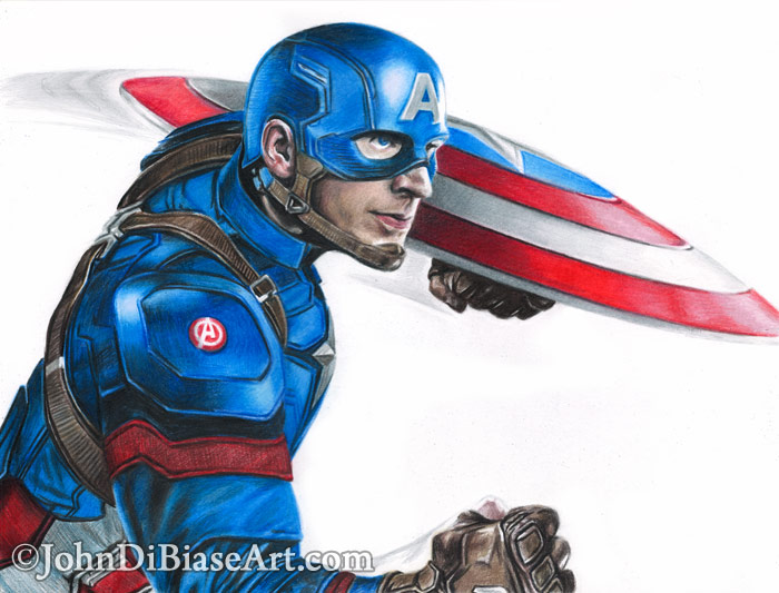 700x533 Colored Pencil Captain America Drawing (From War