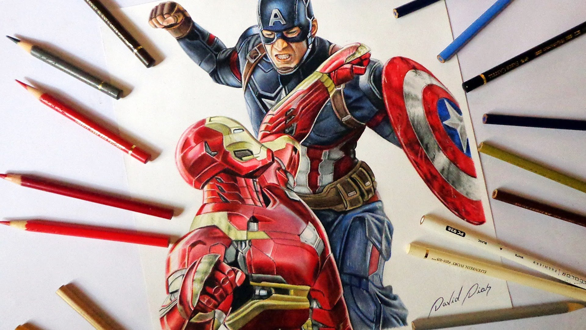 1920x1081 Speed Drawing Captain America Vs Iron Man (Civil War)