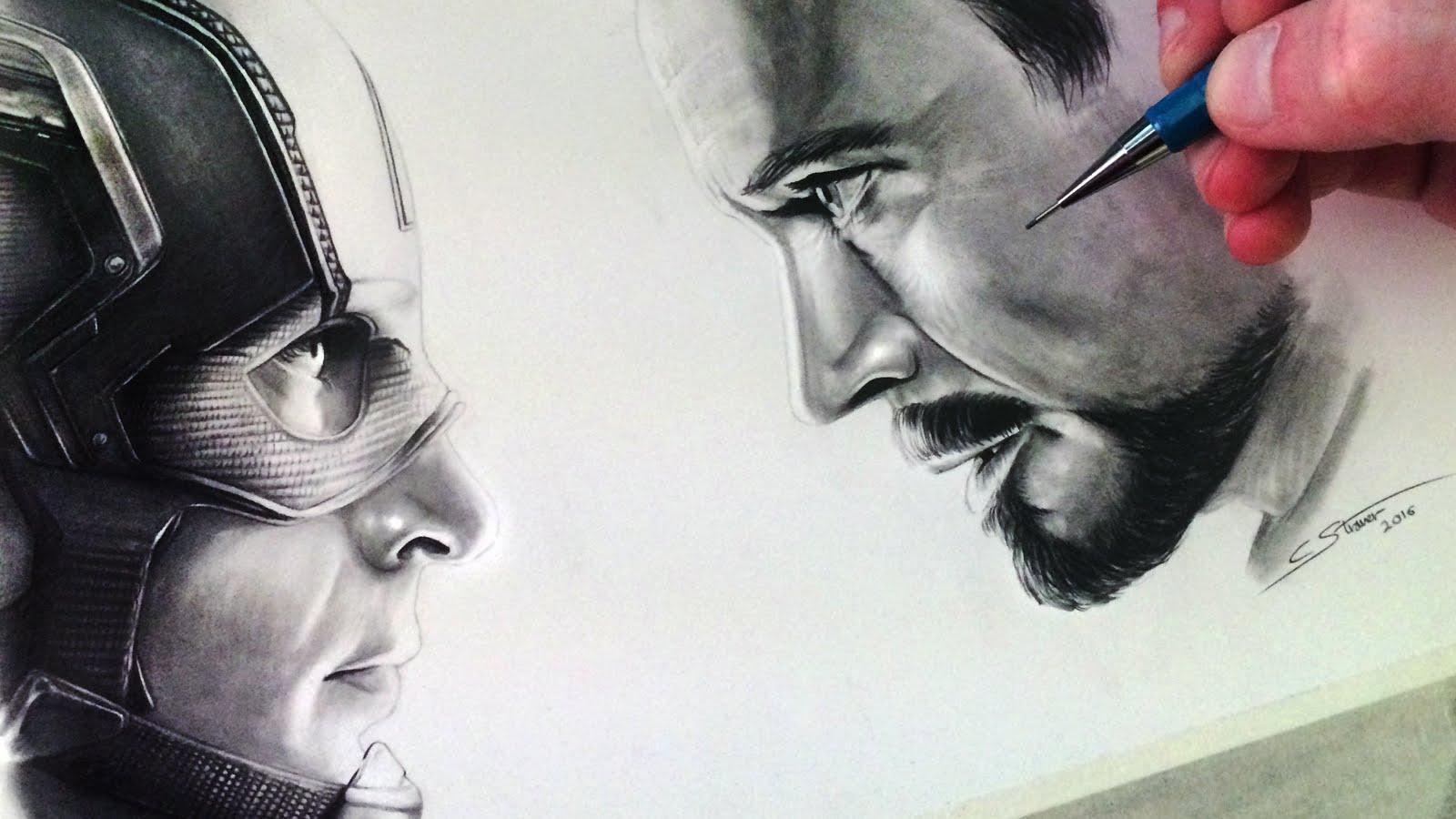 1600x900 Captain America Civil War Drawing