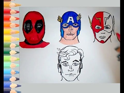 how to draw deadpool face
