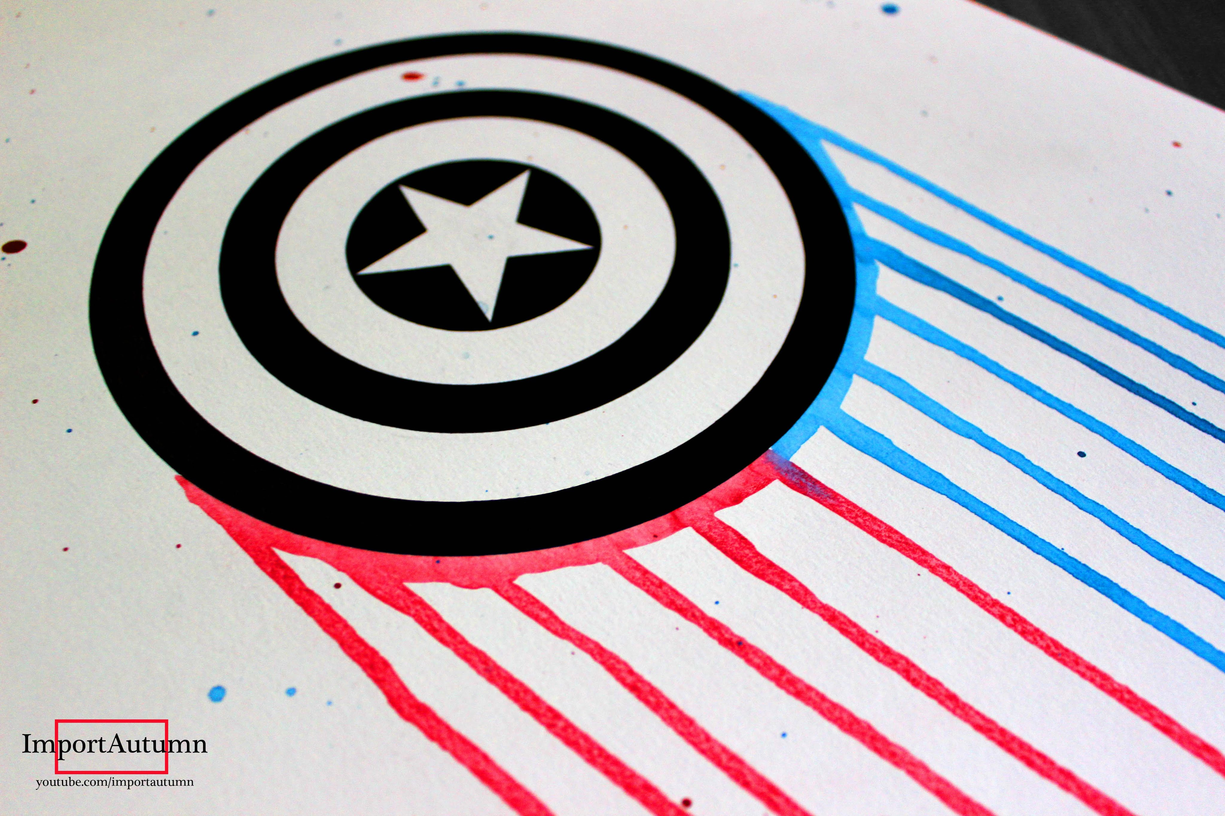 4096x2731 Drawing Captain America's Shield [Ink And Watercolour]