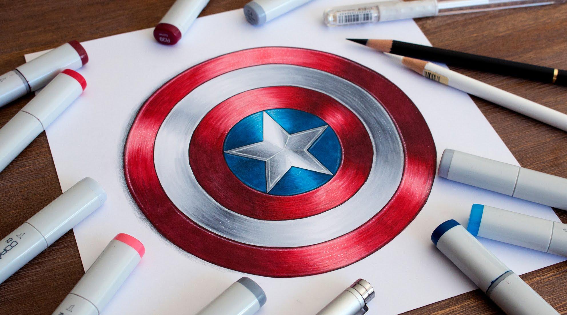 Captain America Shield Drawing At Getdrawings Free Download