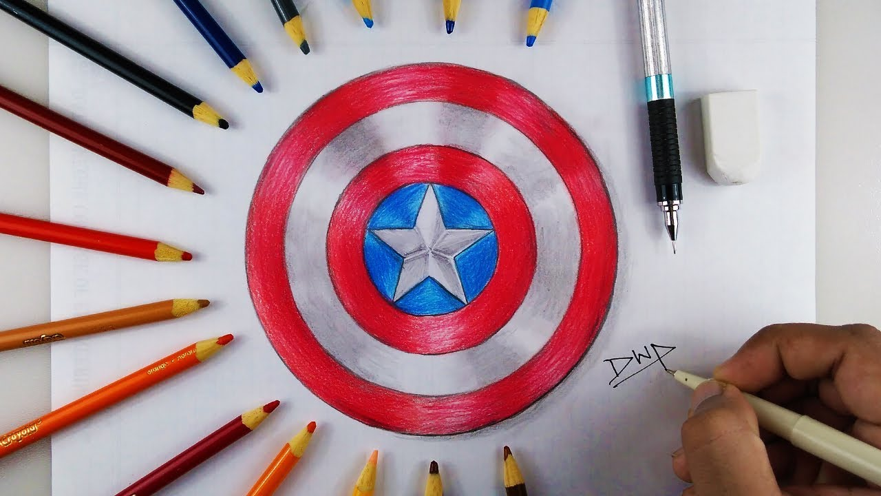 1280x720 How To Draw Captain America Shield Step By Step Easy