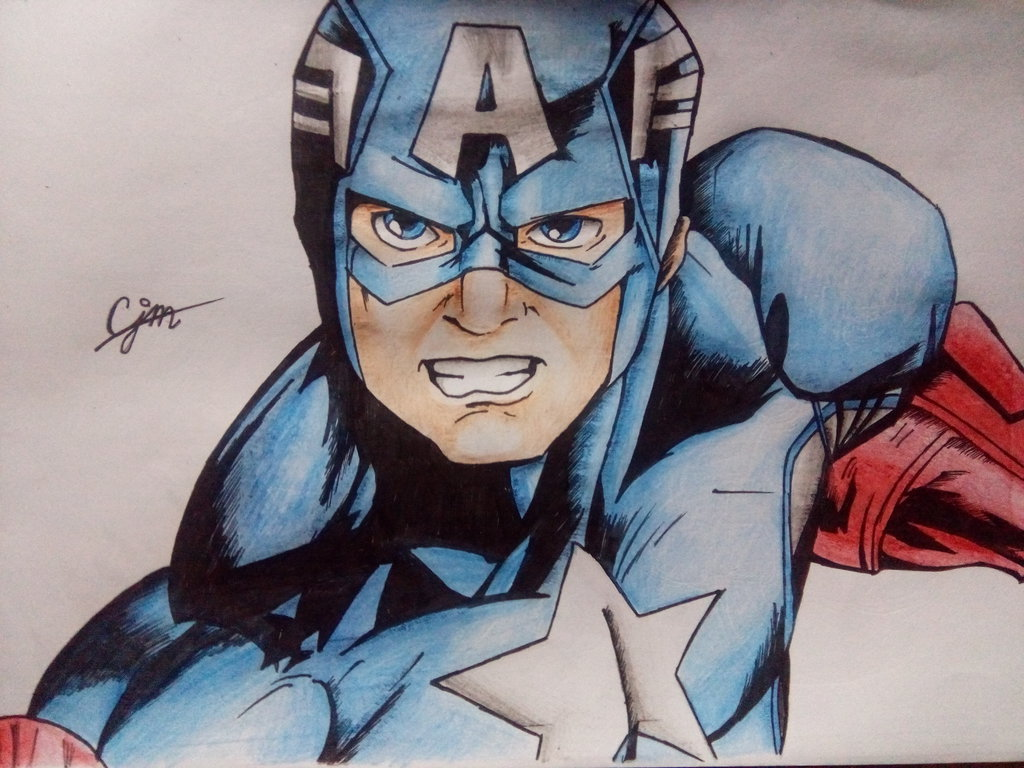 1024x768 Captain America Drawing (Colored) By Josh18parker