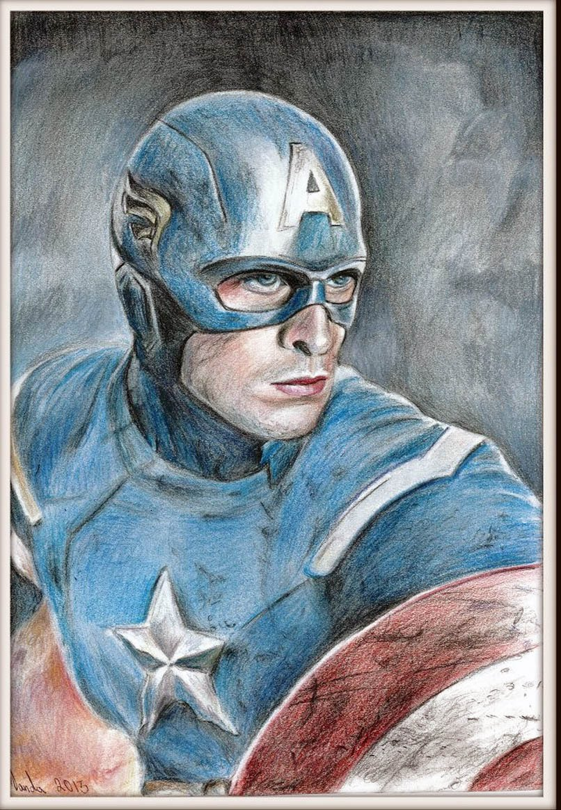 806x1165 Drawing Captain America