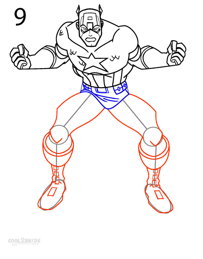 700x890 How To Draw Captain America (Step By Step Pictures) Cool2bkids
