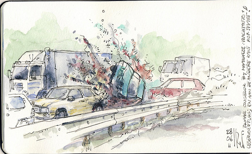 500x306 Deadly Road Accident Urban Sketchers