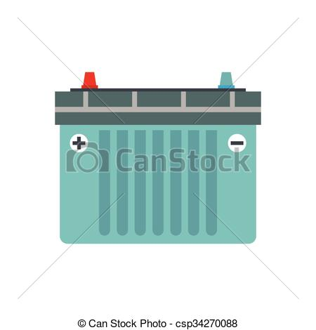 450x470 Car Battery Flat Icon Isolated On White Background Vector