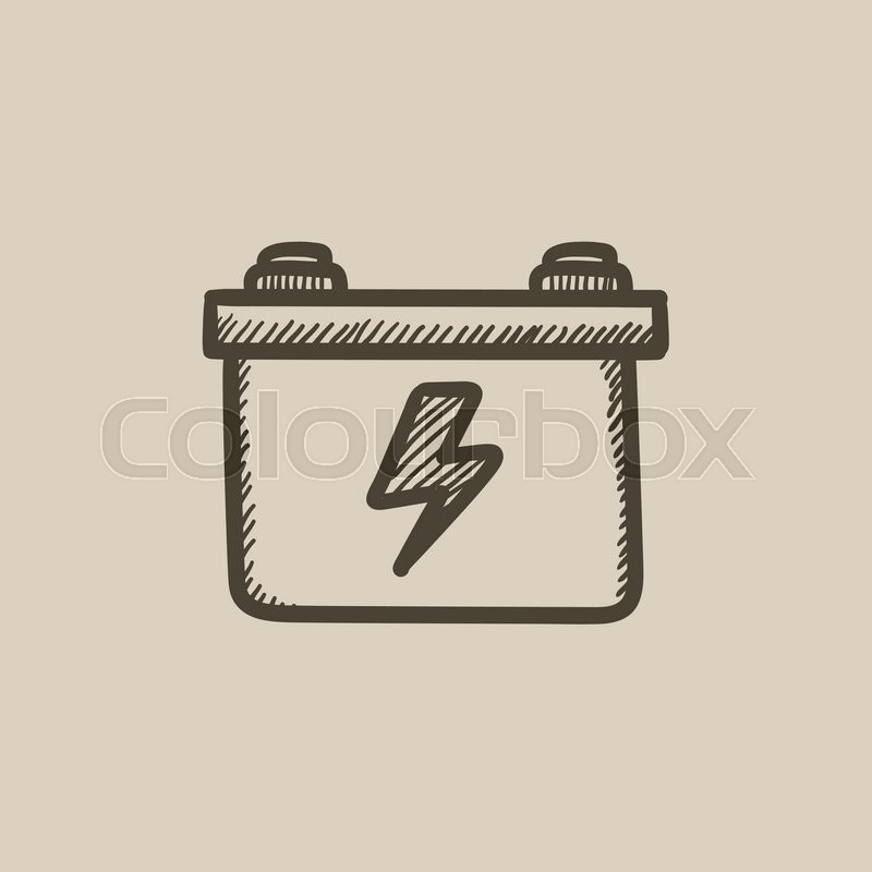 800x800 Car Battery Vector Sketch Icon Isolated On Background. Hand Drawn