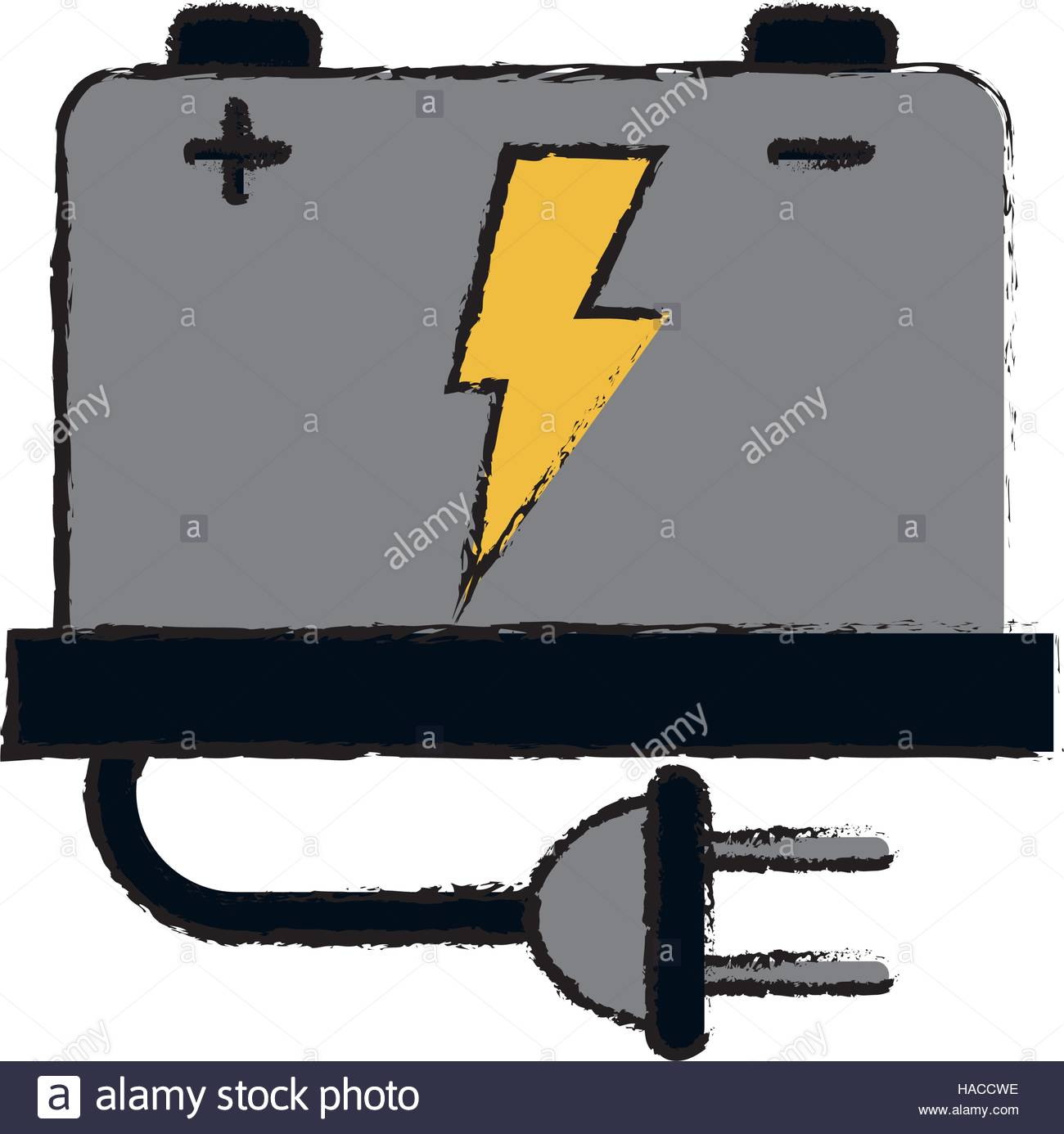 1300x1386 Drawing Car Battery High Voltage Mechanic Plug Stock Vector Art