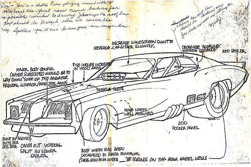 800x533 Pontiac Funny Car Body Design Notes From Mickey Thompson For Body