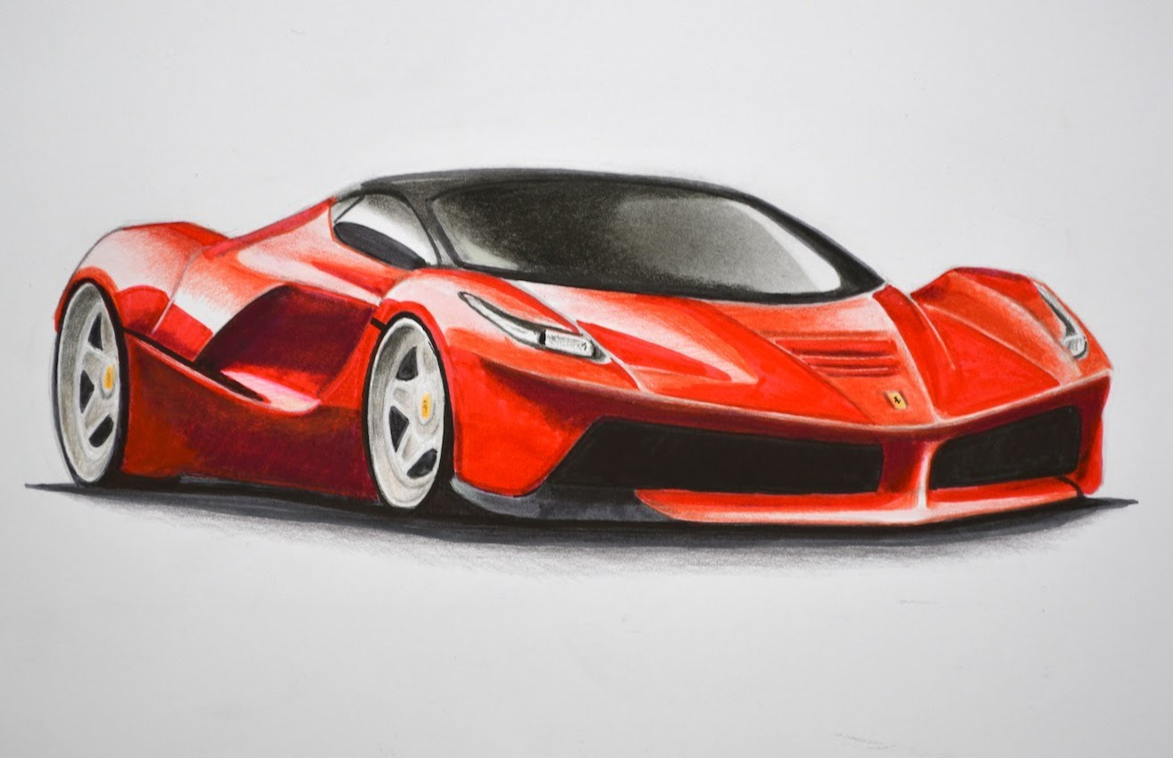 1314x850 How To Draw A Ferrari With Colors