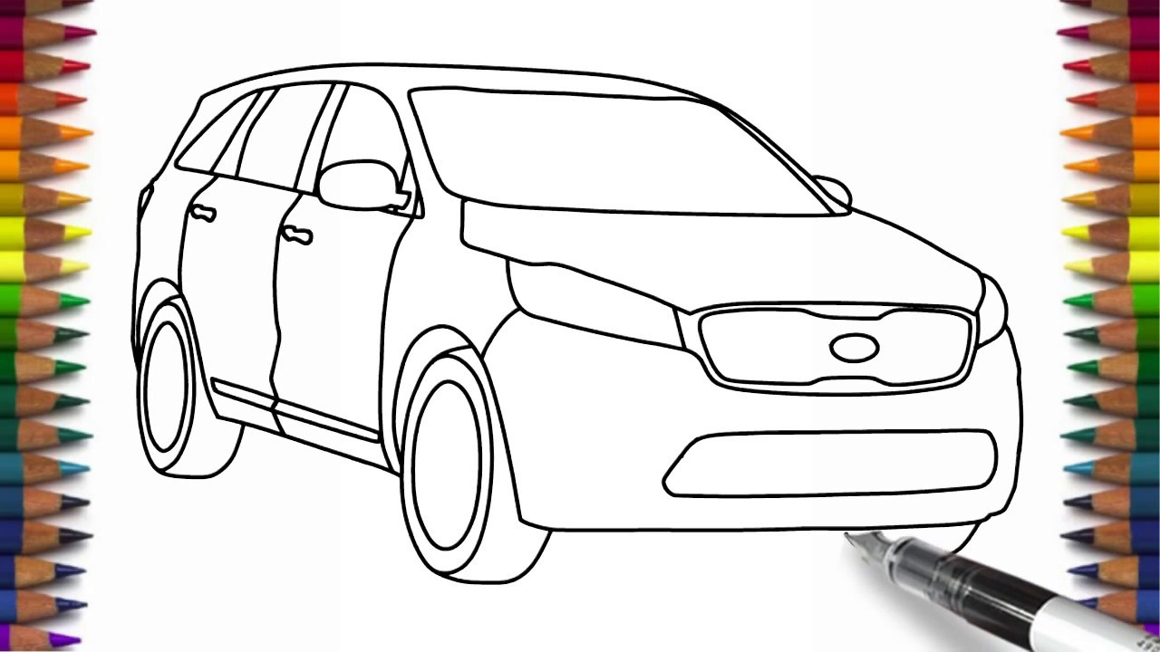 1280x720 How To Draw Kia Sorento Step By Step For Beginners Car Drawing