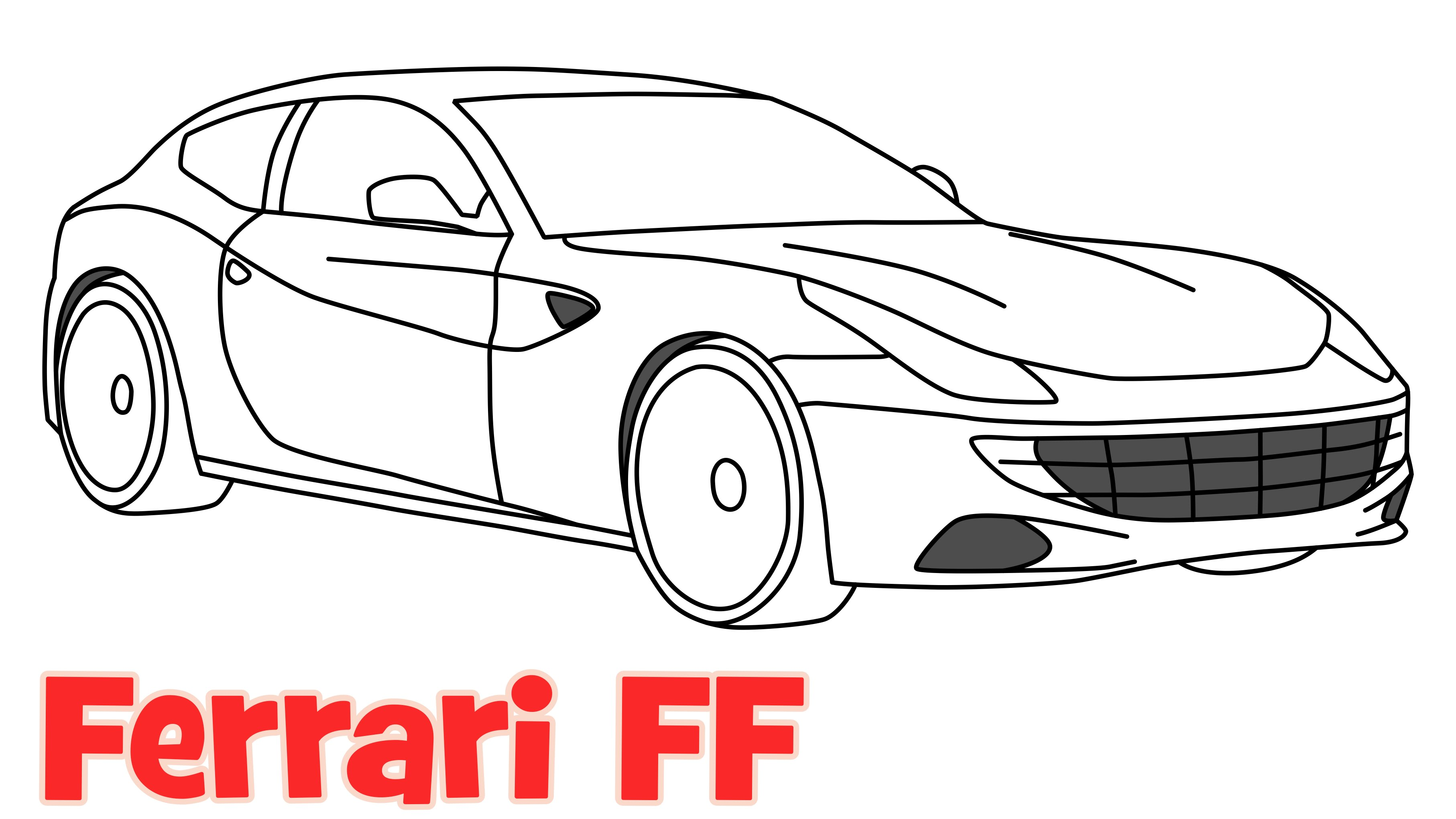 3628x2041 How To Draw A Car Ferrari Ff Step By Step Easy Drawing For Kids