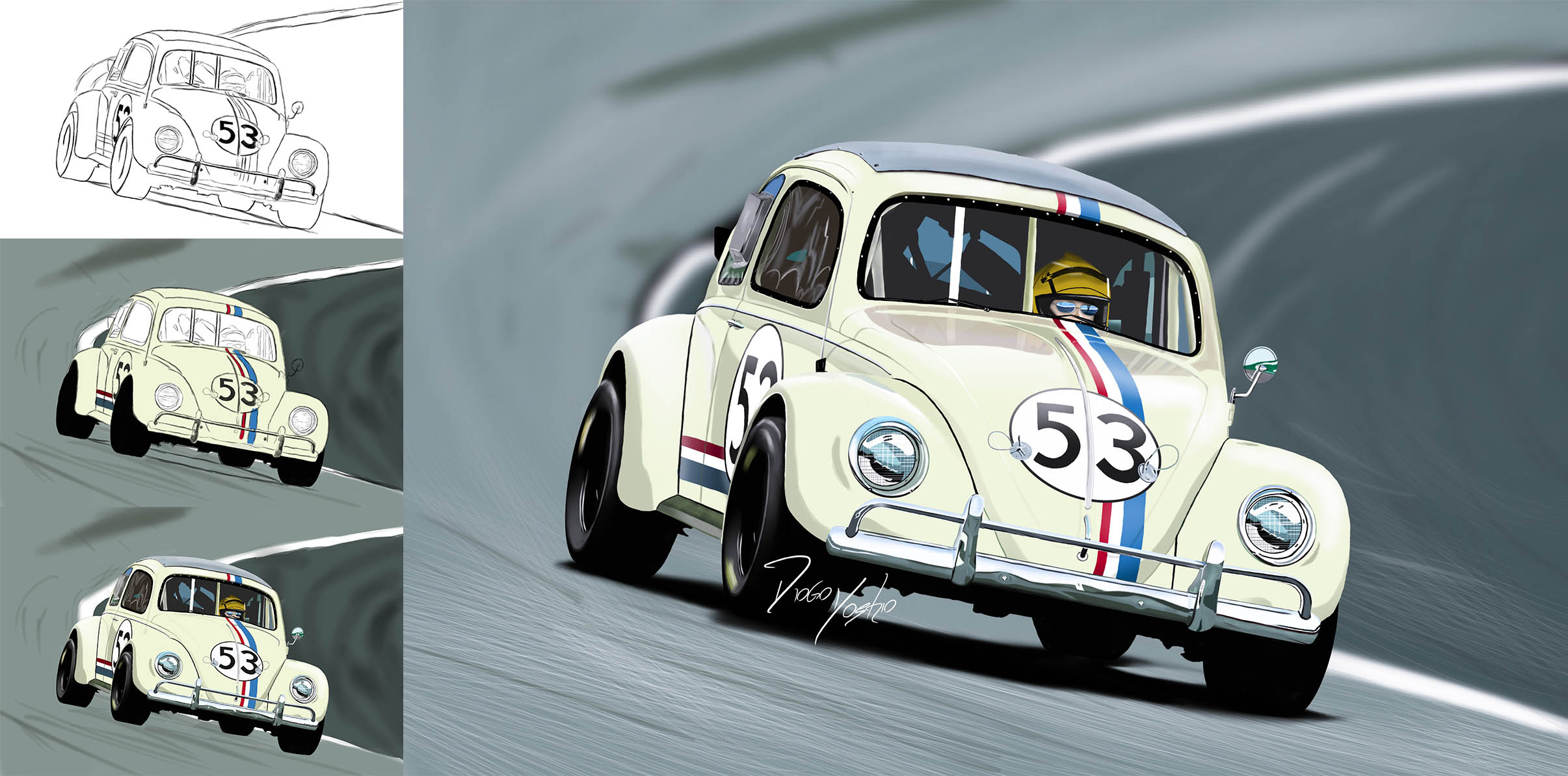 2411x1194 That Was My First Car Drawing On Photoshop, Herbie Art )